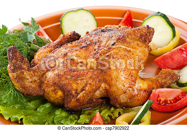 fresh grilled whole chicken with vegetables - csp7902922