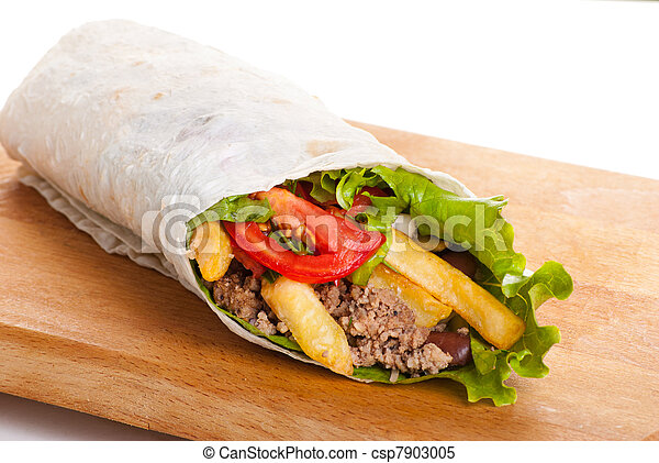 beef burrito with peppers, fried potato and tomato - csp7903005