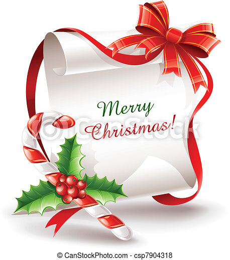 christmas greeting card with caramel cane - csp7904318