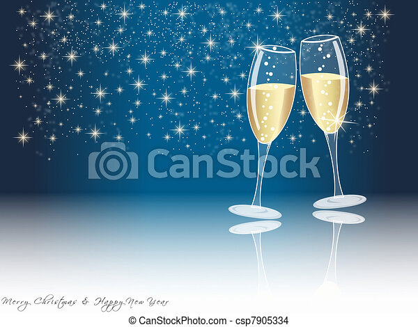 Happy new year champagne glasses - csp7905334