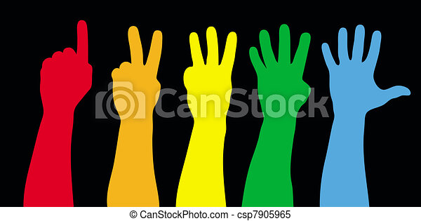 Color hands counting on black.  Vector illustration. Separate layers. - csp7905965