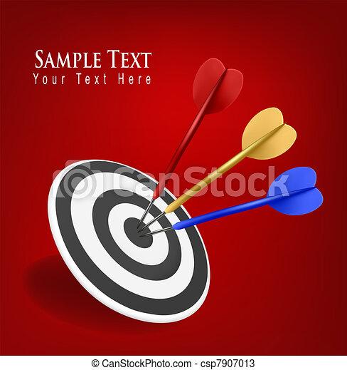 Colorful darts hitting a target - csp7907013