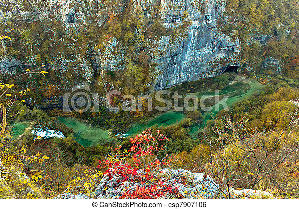 Plitvice lakes canyon - colorful river aerial view - csp7907106