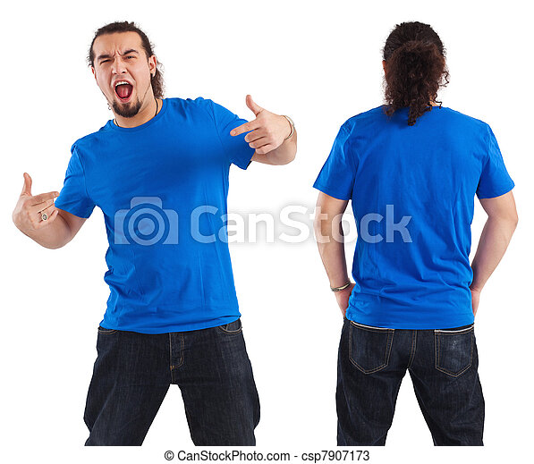 Male pointing at his blank blue shirt - csp7907173