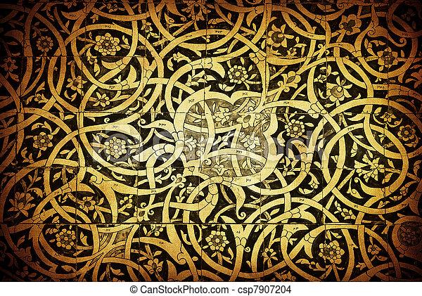 Tiled background, oriental ornaments from Uzbekistan Tiled backg - csp7907204