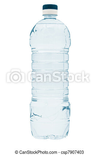 Pure mineral water in blue plastic bottle. Isolated on white background - csp7907403