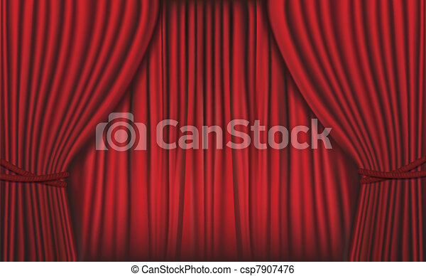 Background with red velvet curtain. - csp7907476