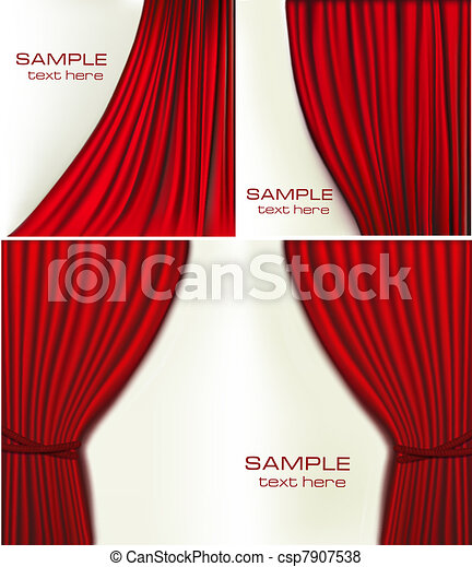 Set of backgrounds with red velvet - csp7907538