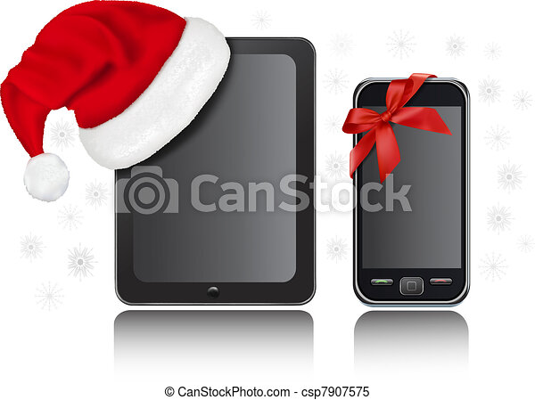 Clipart Vector of Tablet Computer with santa hat - Christmas ...