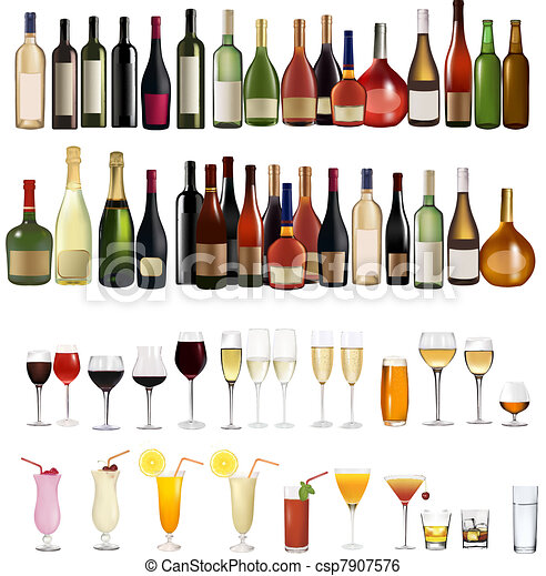 Set of different drinks and bottles - csp7907576