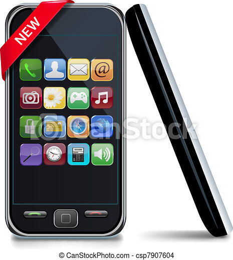 touchscreen mobile phone with icons - csp7907604