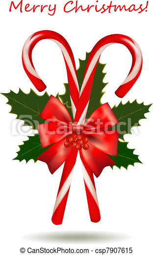 Christmas candy cane with bow. Vector... csp7907615 - Search Clip Art ...