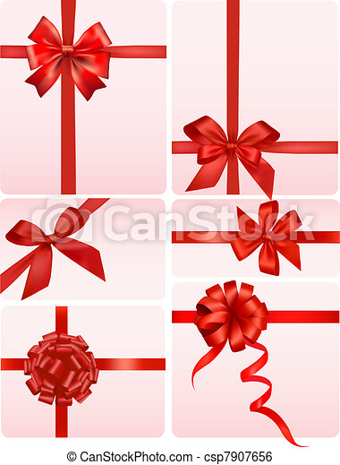 Big set of red gift bows - csp7907656