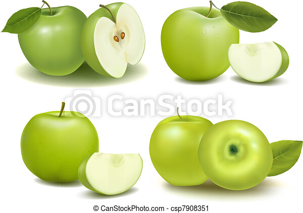 Set of fresh green apples - csp7908351