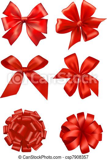 Big set of red gift bows  - csp7908357