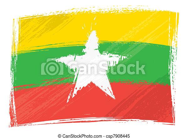 Grunge Myanmar flag - csp7908445