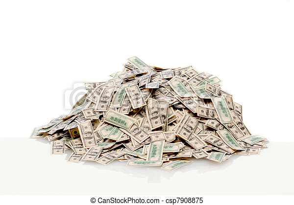 Pile of hundred dollar bills - csp7908875