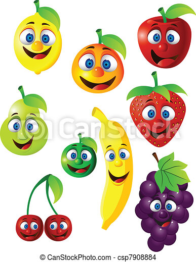 Funny fruit cartoon character - csp7908884
