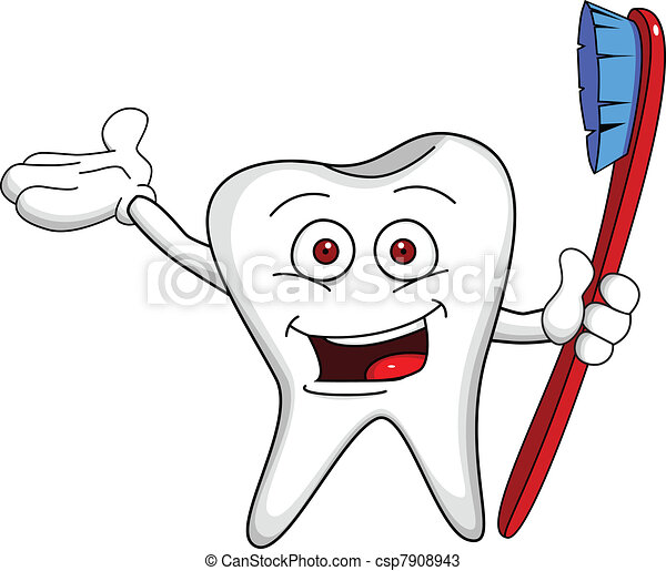 Tooth character with brush - csp7908943