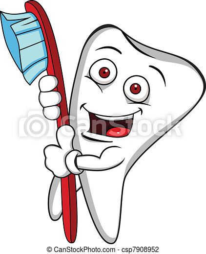 Tooth character with brush - csp7908952