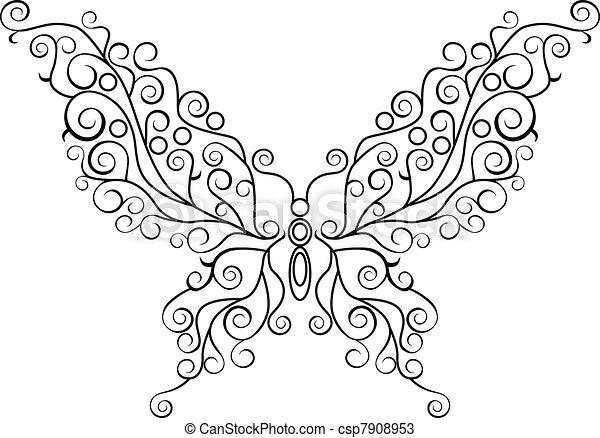 Butterfly line art - csp7908953