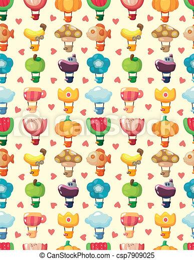 seamless hot air balloon pattern - csp7909025