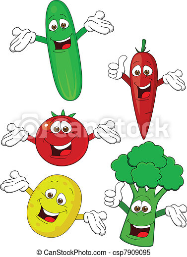 Vegetable cartoon character - csp7909095