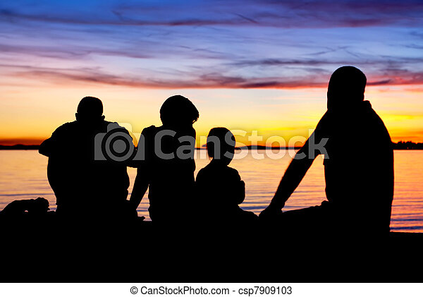 Family before sundown - csp7909103