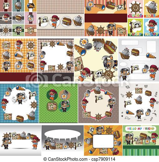 cartoon pirate card - csp7909114