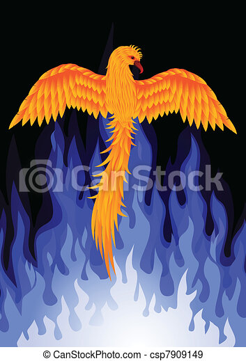 Phoenix bird with blue flame - csp7909149