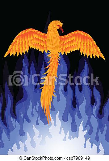 Phoenix bird with blue flame - csp7909149