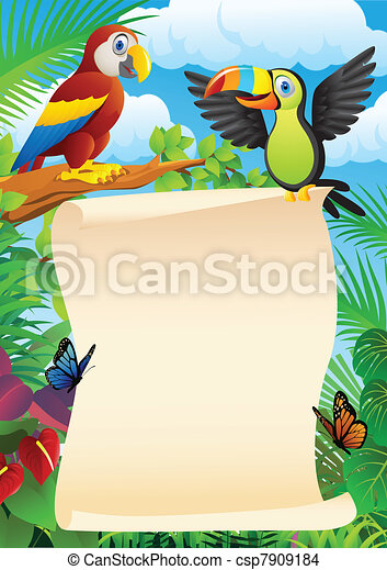 Birds with blank sign - csp7909184