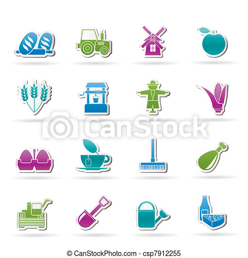 Agriculture and farming icons  - csp7912255