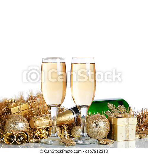 Champagne with Christmas ornaments - csp7912313