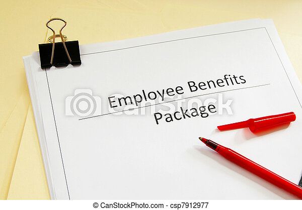 an employee benefits package and red pen - csp7912977