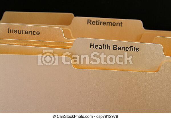 好處, 文件夾, 等等, 健康, 雇員, 保險 - csp7912979