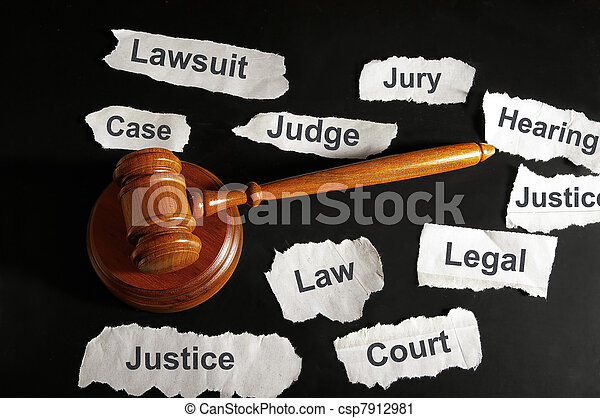 judge's gavel and legal terms from newspaper headlines - csp7912981