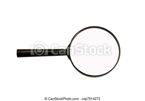magnifying glass loupe to magnify enlarge isolated on white - csp7914273