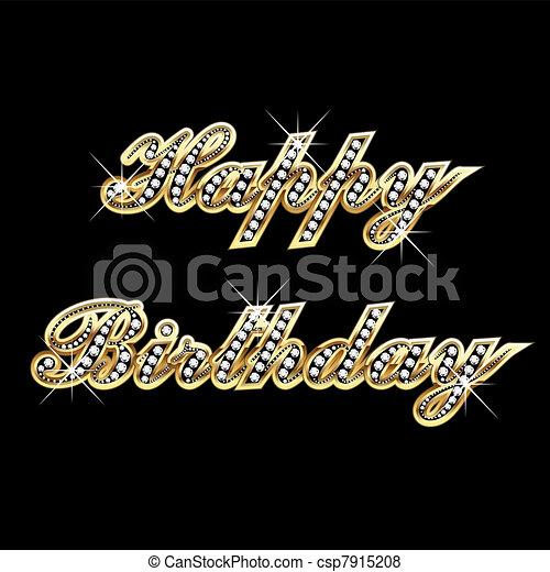 Happy birthday in gold with diamond - csp7915208