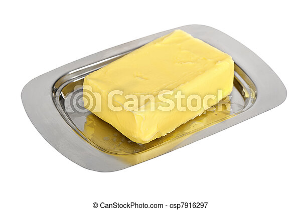 Butter on silver butter dish - csp7916297