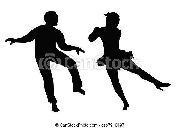 Dancing Couple Steps and Kick - csp7916497