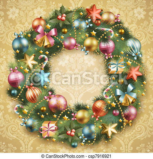 Christmas wreath with baubles - csp7916921