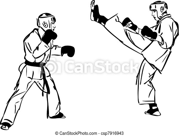 23 karate kyokushinkai sketch martial arts and combative sports3jpg csp7916943 - Sports Drawing Pictures