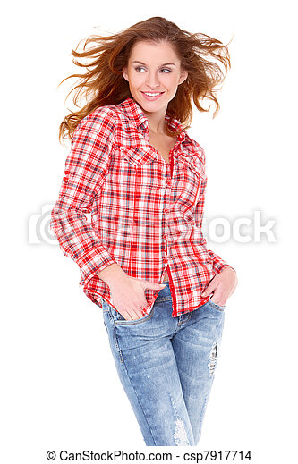 Lovely young woman in casual clothing - csp7917714