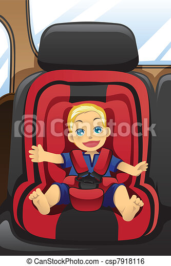 Boy in car seat - csp7918116