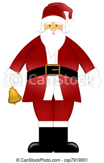 Santa Claus Ringing Bell Clipart Isolated on White Background - csp7919001