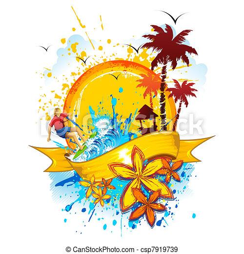 Eps Vectores De Grungy Playa Ilustraci 243 N De Playa Con Salpicar Onda Csp7919739