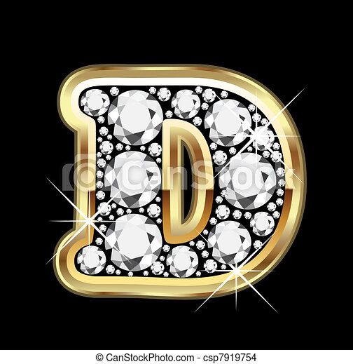 EPS Vector of D gold with diamonds bling vector - D gold ...