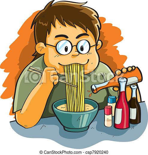 Man Eating Noodles - csp7920240