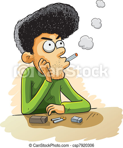 Clip Art Vector of Smoking Desperate - cartoon illustration of man ...